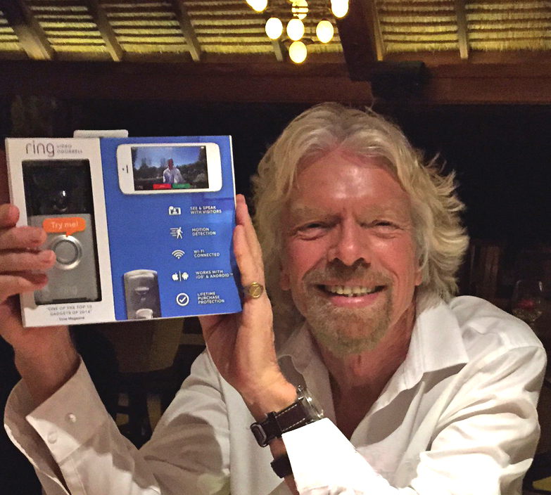 Richard Branson with his Ring doorbell. Image courtesy of Ring.