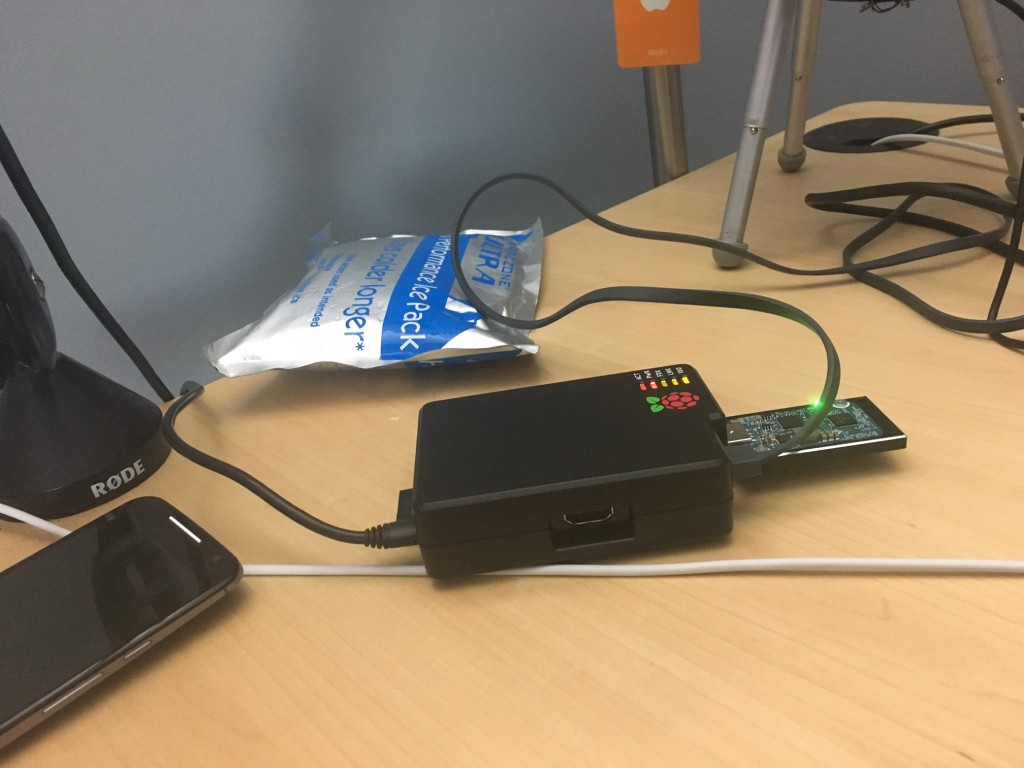 Kevin's Bitcoin mining operation using a Raspberry Pi and a custom dongle.