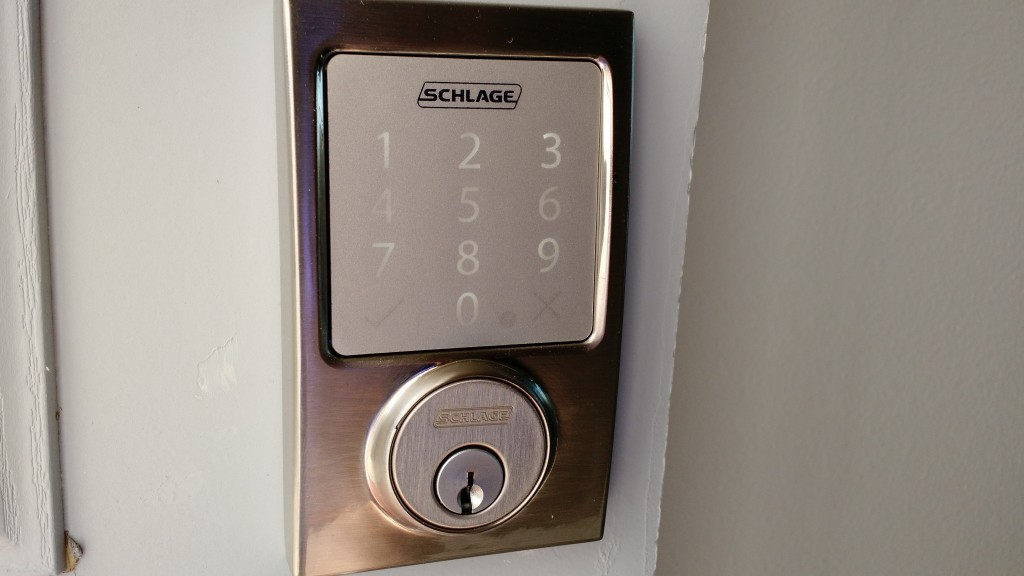 The outside-facing side of my HomeKit-enabled Schlage Sense lock.