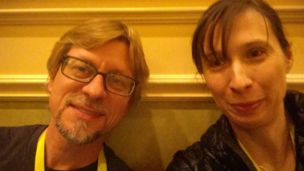 Kevin and Stacey at CES in 2015. Kevin's hair is longer and so are my bangs.